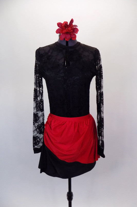 Long sleeved black lace leotard with keyhole back has faux sweetheart neckline. Comes with matching angled black & red skirt and floral hair accessory. Front