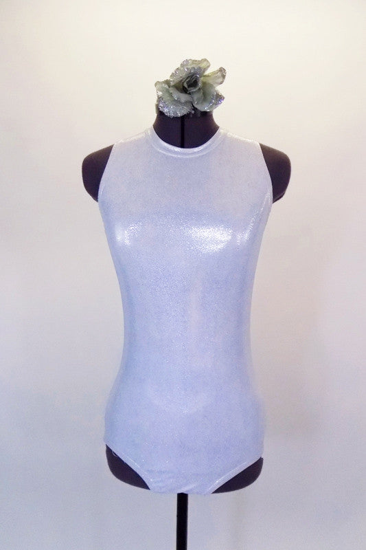 Simple but elegant tank style fully lined silver leotard has round collar and keyhole back. Comes with hair accessory. Front