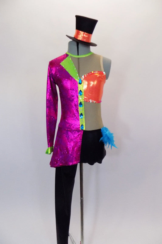 Unitard had  full & short leg. Torso is fuchsia blazer with jewel buttons one side & nude mesh tank with orange bust on other. Black bottom has feather accent. Comes with top-hat accessory. Front