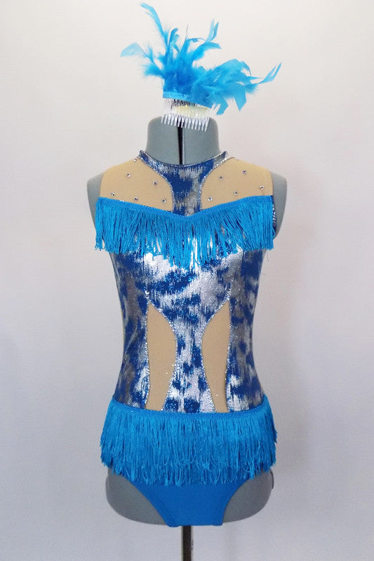 Silver & turquoise leotard has keyhole back, turquoise bottom with nude mesh upper & cut-outs along torso. Turquoise fringe accents the bustline and hips. Comes with feather hair accessory. Front