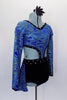 Blue glitter swirl, long sleeved V-neck top has black crystaled trim attached to black velvet shorts with matching bustle skirt. Comes with hair accessory. Right side