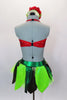 Themed costume has halter bodice in shape of strawberry with crystal seeds. Bodice is attached to green briefs with shades of green leaves. Comes with hat. Back