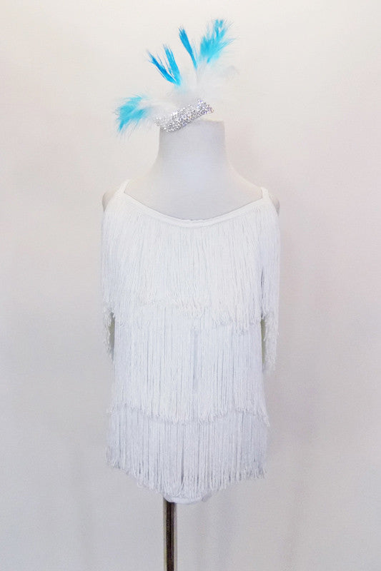 Fabulously fringed front and back white leotard has spandex attached trunks, binding & straps that cross in back. Comes with feathered crystal hair accessory. Front