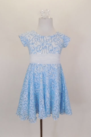 Fully lined pale blue sequined lace dress has cap sleeves & white  sash that ties in bow at back. Comes with matching sequined hair accessory. Front