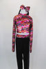 Long sleeved  half top has iridescent waved shades of pink, yellow,orange & charcoal with keyhole back. The  black spandex pants have waved waistband, Comes with matching headband. Front