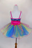 Costume is peacock confetti sequin spandex & hot pink stretch-satin binding, straps and a shirred cummerbund has attached curly hem rainbow glitter tulle skirt. Back