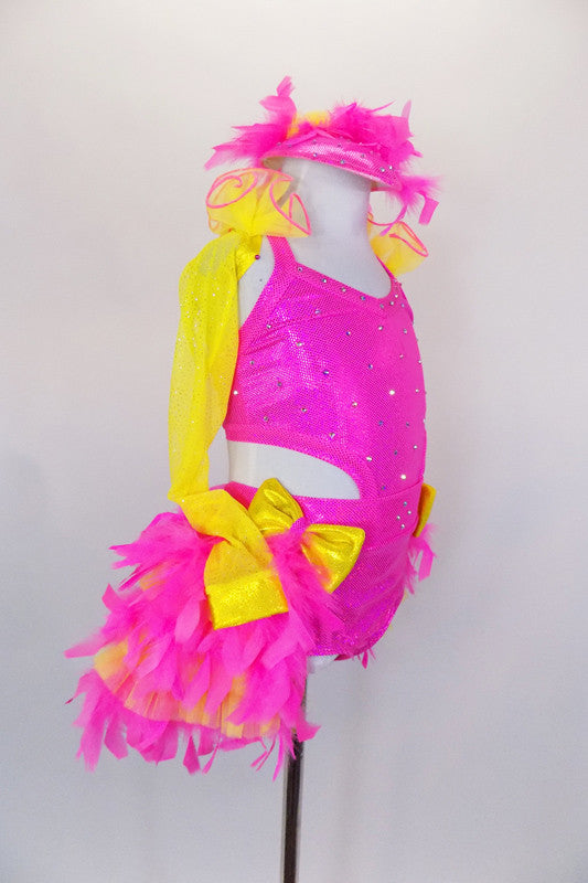 Pink open-back halter top adorned with crystals attached to matching briefs with bustle comprised of pink-yellow pleated tulle & pink feathers. Comes with matching feathered hat. Right side