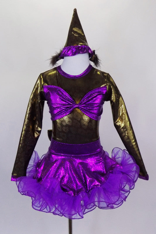 Brown shiny leotard with keyhole back has large purple bow bust. Purple skirt has curly ruffle edge & large bow at back with tail. Has pointy party hat with fuzzy ears. Front