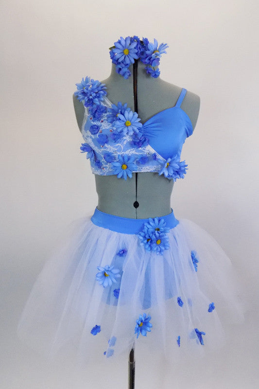 ceec7b4e425a Blue 2-piece costume has unique bra covered on one side with white lace &