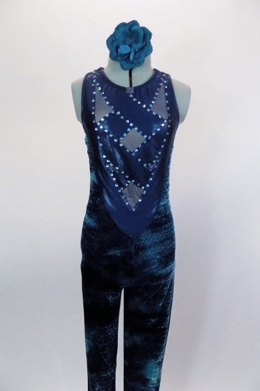 Velvet full unitard has shades of blues & greens. Bodice is  sheer blue mesh with crystaled straps. Back is V-shaped mesh & crystals. Comes with hair accessory. Front