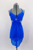 Bright blue mesh dress has crystaled straps and gathered, lined cross-over bust with  crystal brooch. Bust is attached to skirt gathered at front & open at back. Comes with crystal barrette. Front