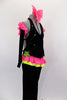 2-piece black velvet costume has asymmetrical top with pink & green ruffles & crystals. Comes with black velvet pants & long velvet gloves with pink ruffle.  Comes with bow hair accessory. Right side