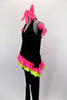 2-piece black velvet costume has asymmetrical top with pink & green ruffles & crystals. Comes with black velvet pants & long velvet gloves with pink ruffle.  Comes with bow hair accessory. Left side
