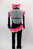 2-piece black velvet costume has asymmetrical top with pink & green ruffles & crystals. Comes with black velvet pants & long velvet gloves with pink ruffle.  Comes with bow hair accessory. Back