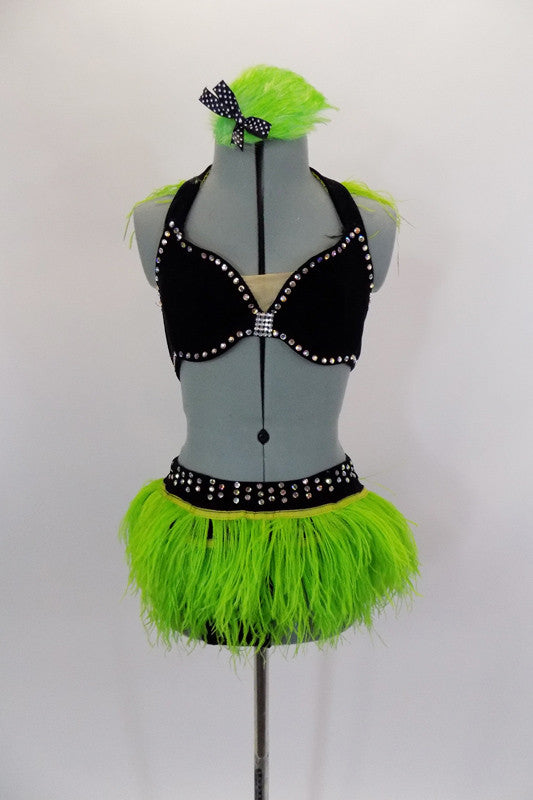 2-piece costume has black velvet bra, with crystals & green ostrich feather halter collar. Black velvet brief has green ostrich feathers & crystaled waistband. Comes with feather hair accessory. Front
