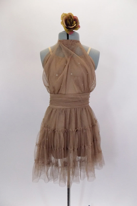 Taupe mesh lyrical dress is camisole style short unitard base with crystals at bust. Sheer draping on bodice attaches at high collar. Skirt is layers of ruffled mesh & cummerbund waist. Comes with rose hair accessory. Front