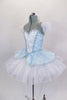Blue leotard base has separate blue damask bodice with front insert & silver braiding. Tutu overlay is crystal covered white organza with matching blue damask. Comes with crystal tiara. Side