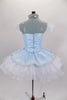 Blue leotard base has separate blue damask bodice with front insert & silver braiding. Tutu overlay is crystal covered white organza with matching blue damask. Comes with crystal tiara. Back