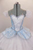 Blue leotard base has separate blue damask bodice with front insert & silver braiding. Tutu overlay is crystal covered white organza with matching blue damask. Comes with crystal tiara. Front zoomed