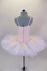Blush pink, lace princess bodice, with crystals is attached to 8 layer pleated, tacked tutu with panty & hook-eye back. Lace overlay has pink crystaled flowers. Comes with Swarovski bridal headband. Back
