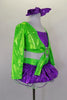 2- piece costume has purple glitter ruffle skirt with large green back bow and layers of white curly hem petticoat. Long sleeved green top has purple center. Comes with crystal buckle accent and purple hair bow. Side