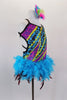Mardi Gras themed open straped back costume is a colorful leotard with pearls & beads print. The skirt is made entirely of layers of purple & turquoise feathers. Comes with feather hair accessory. Right side