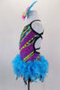 Mardi Gras themed open straped back costume is a colorful leotard with pearls & beads print. The skirt is made entirely of layers of purple & turquoise feathers. Comes with feather hair accessory. Left side