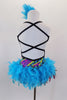 Mardi Gras themed open straped back costume is a colorful leotard with pearls & beads print. The skirt is made entirely of layers of purple & turquoise feathers. Comes with feather hair accessory. Back