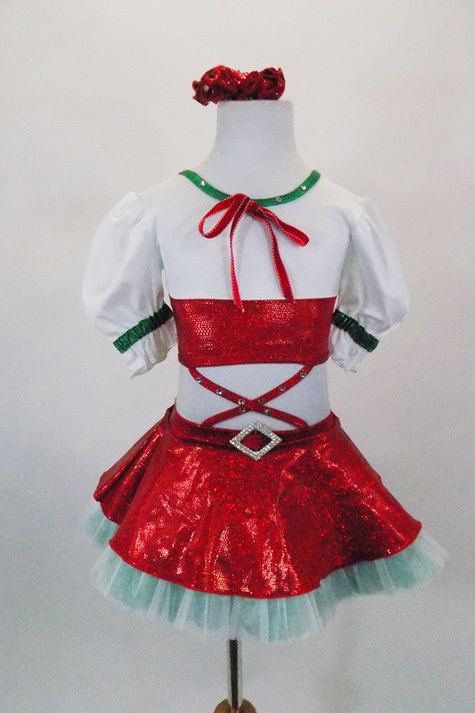 Italian themed two-piece costume attached by straps. The front laces-up with ribbon.. Bottom has multi layered green red & white tulle petticoat & red overlay. Front