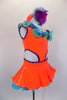 Bright orange velvet one-shoulder dress has open sides with purple crystals. Curly hem ruffles in lime, turquoise & purple accent the neckline & petticoat edge. Comes with ruffled gauntlets and floral headband. Right side
