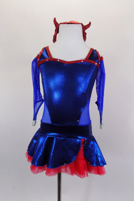 Electric blue metallic dress has red edging & crystals with blue mesh sides. Back has red double straps. & skirt has red petticoat. Comes with devil headband. Front