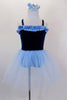 Dark blue velvet ballet dress with pale blue ruffle accent at neckline has attached pale blue tulle skirt &  panty. Comes with pale blue hair accessory. Front