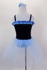 Dark blue velvet ballet dress with pale blue ruffle accent at neckline has attached pale blue tulle skirt &  panty. Comes with pale blue hair accessory. Back