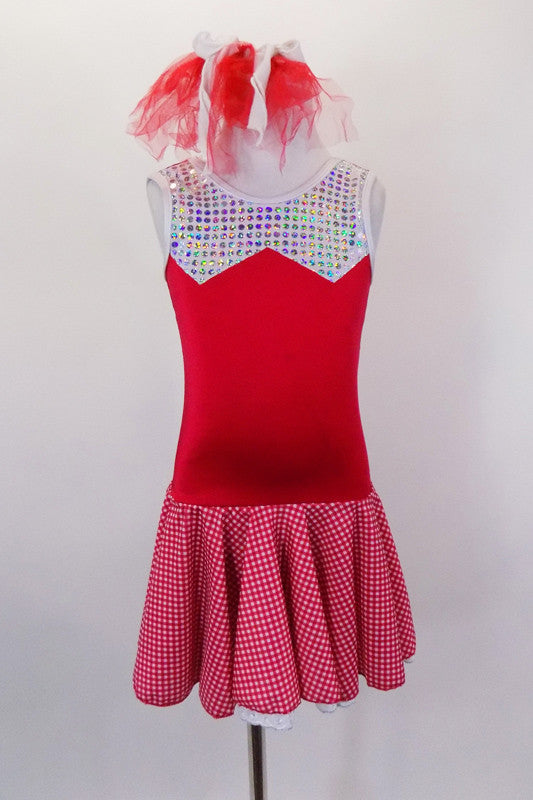 Picnic themed red and white checkered skirt is attached to red tank leotard with eyelet ruffled petticoat and silver glitter bust. Comes with red hair bow. Front