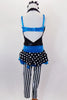 Black deep plunge halter unitard with crystal accents has black & white striped legs & attached turquoise metallic bandeau bra & waist with polka dot peplum. Comes with hair accessory. Back