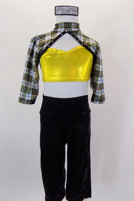 Black silver and gold tartan ¾ sleeved, crystal  half top has peek-a-boo gold sweetheart bra. Comes with black shiny capri pants and black leather hat. Front