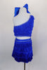 2- piece electric blue costume has single shoulder half top covered in layers of blue fringe & crystal accents. Comes with matching fringe skirt and hair bow. Back