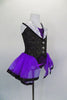 Purple leotard has black pinstripe vest bodice with white sequined lapels, large silver buttons & attached purple skirt with ribbon edge. Comes with bowler hat. Side
