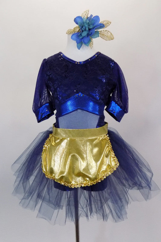 Navy blue, open backed dress has lace overlay with mesh center & pouf sleeves. Skirt is navy tulle with attached shorts. Comes with  gold apron & hair accessory. Front