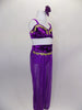 Purple Arabian two-piece costume has mesh harem pants, built-in panty, velvet waistband & gold jeweled applique at waist. Velvet bra has marching gold applique. Comes with hair accessory. Side