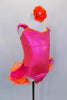 Hot pink corset style leotard dress has  lace-up back The bright orange banding is lined with crystals & open front  skirt has pink and orange curly ruffle hem. Comes with jeweled, floral hair accessory. Side