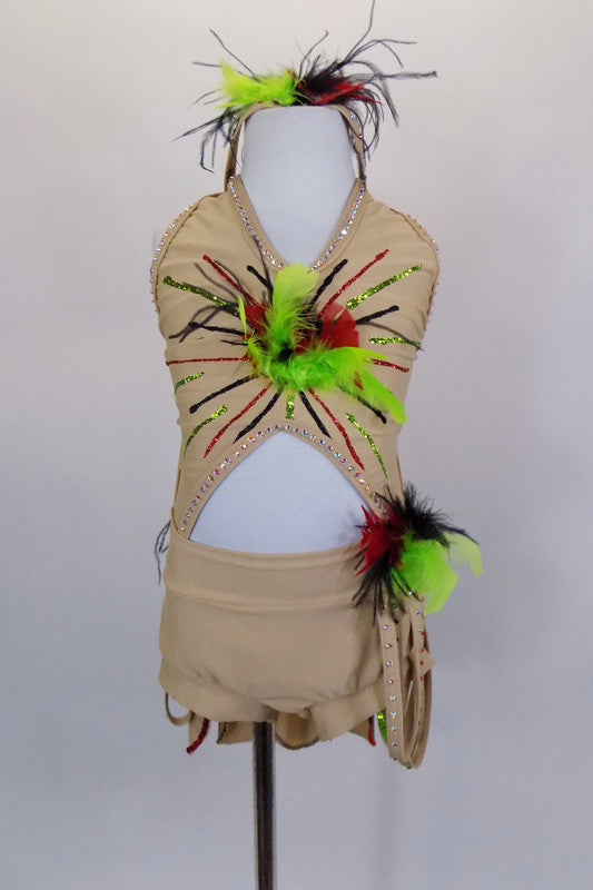 Nude crystaled costume has deep V halter, open back & cut-out center. Feather accents at front, hip & back with petal bustle skirt & hip loops attached to short. Comes with feathered headband. Front