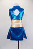 "Two piece turquoise & gold cheerleader themed costume has large crystaled ""K"" at the front & peek-a-boo hole at the back. Comes with matching pleated skort. Back"