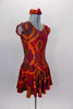 Tie-Dye style flowy tank dress with cap sleeves has scoop neck front and back in shades of reds browns & oranges create the 60s vibe. Comes with hair accessory. Side