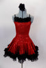 Red sequined dress has black crystal covered cross straps & black petticoat. Satin rose & feather trim edges the skirt & neckline. Comes with hair accessory.  Front