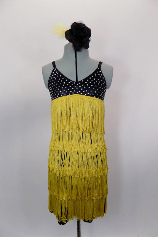 Black flapper dress is covered  entirely with crystals and has layers of golden flapper fringe . Comes with matching hair accessory. Front