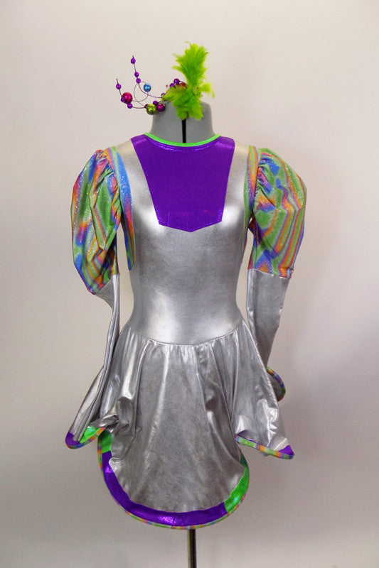 Silver stretch dress with colorful holographic print tapered pouf sleeve, with purple bib inlay at front. Has large bendable hoop in in skirt edge. Comes with hair accessory. Front