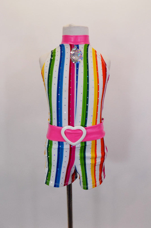 Bright vertical candy stripes with silver accents make the base of this short unitard. The collar is bright pink pleather with matching belt & pink boot covers. Front