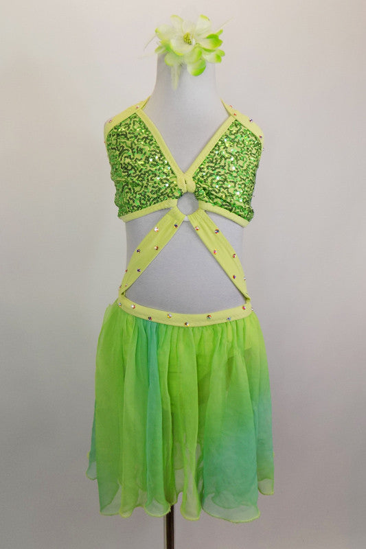 Green sequined halter bra top has yellow-green crystal covered binding. Ring at center links bra by crystaled strap attaching to chiffon flowy skirt. Front