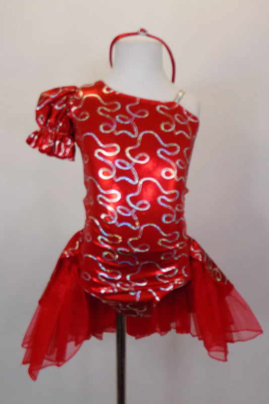 Red pouf sleeved dress has one shoulder & silver lasso designs. There is an open-front bustle skirt with red shiny petticoat & red/silver overlay. Comes with matching headband. Front